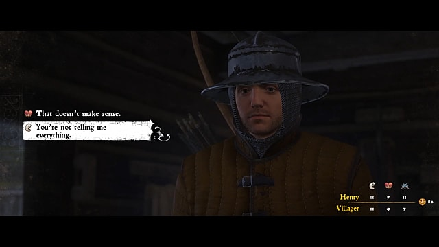 Henry, wearing yellow, leather armor and a chainmail helmet, asks a villager questions