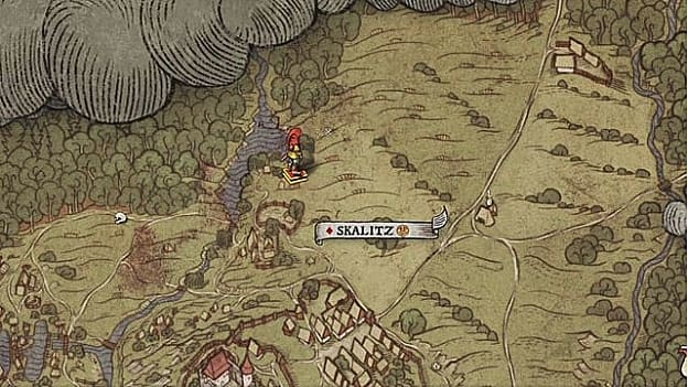 Map XX shows red-hooded player avatar on hand-drawn map northwest of Skalitz