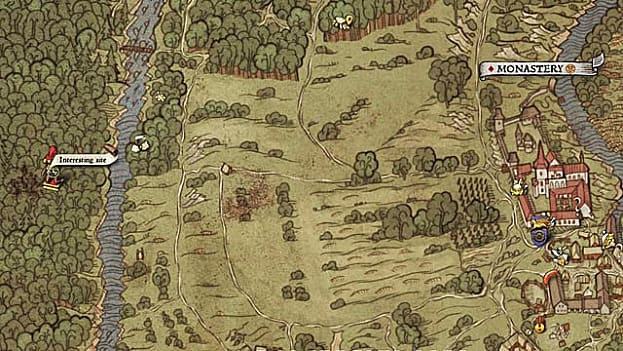 Hand drawn medieval map showing field, town, river, and forest location for map III