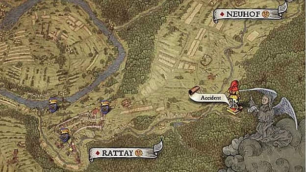 Map XIII shows a treasure location at the scene of an accident on the road northeast of Rattay near large tract of farmland