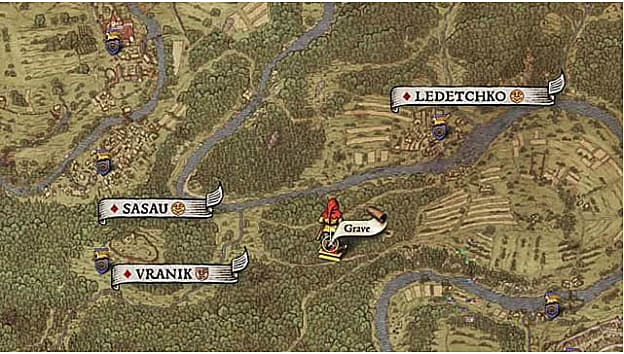Map X shows a treasure location at a grave in the forest east of Sasau and Vranik
