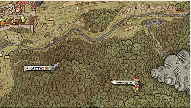 Map XII shows an interesting site treasure location deep in the forest southeast of Rattay