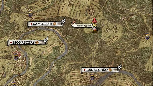 Hand drawn medieval map showing interesting site, Samopesh, Monastery, Ledetchko for map V