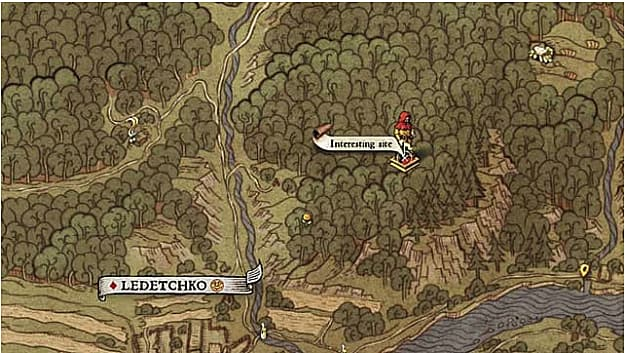 Hand drawn medieval map zoomed in showing character in forest at interesting site for map VI