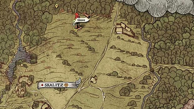 Treasure map XXIV shows a grave in the middle of a field north of Skalitz, west of a small farm