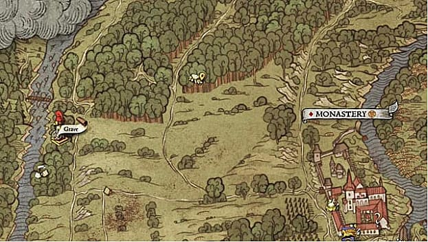 Hand drawn medieval map showing field, forest, town, and river location for map II