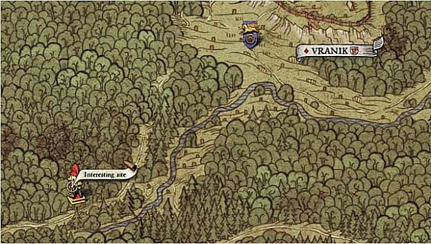 Map XXII shows an interesting site location just off the road in the forest southwest of Vranik