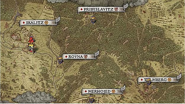 Map location IX shows treasure near a rod south of Skalitz