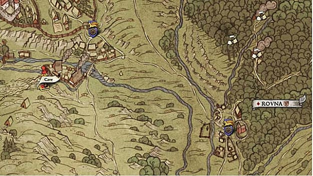 Southwest of Skalitz, Map XI shows a cave location just south of a small village on the outskirts