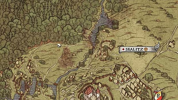 Map XXV shows a treasure location to the west of Skalitz past two ponds at a grave