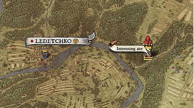 Map XV shows an interesting site treasure location east of Ledetchko along the road before the river