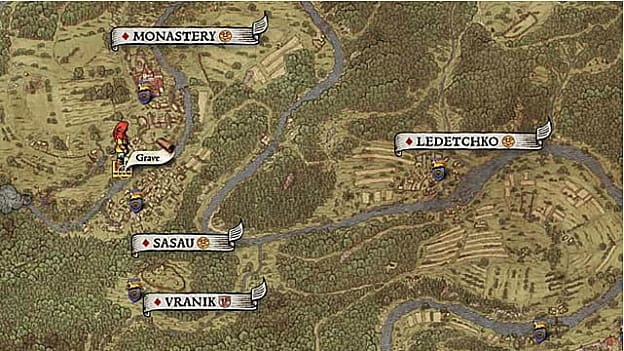Map XIX Shows the red-hooded player avatar near a grave south of the monastery and west of a small tributary