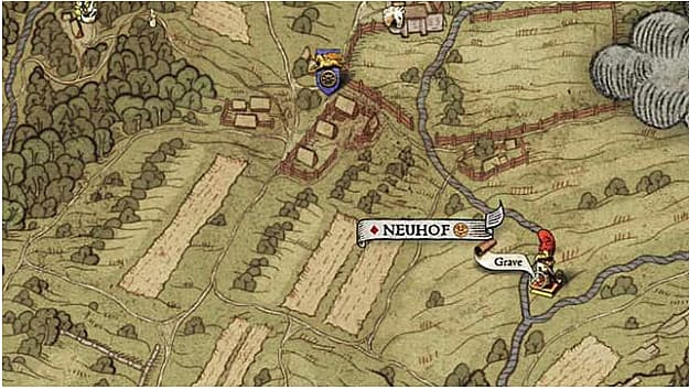 Map XIV shows treasure location at a grave southeast of Neuhof, along the road going through farmland