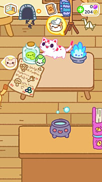 A gleeful pink and white cat stands on a table in Kleptocats 2