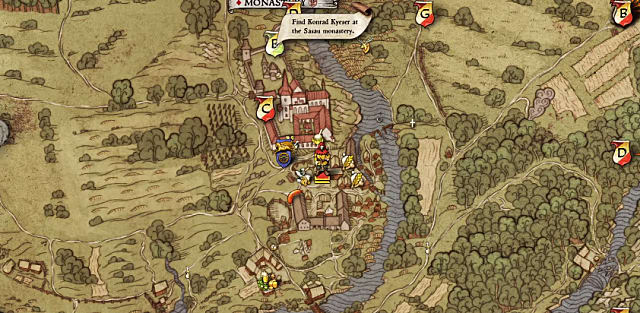 A map showing Konrad's location near the monastery during the Rocketeer quest