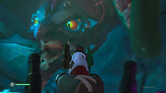 Aiming a black powder pistol at the Kraken's big, yellow eyes.