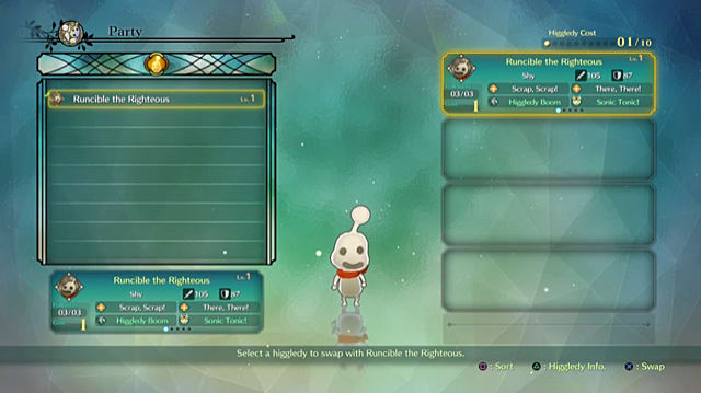 Party screen showing a Ni No Kuni 2 Higgledy's stats