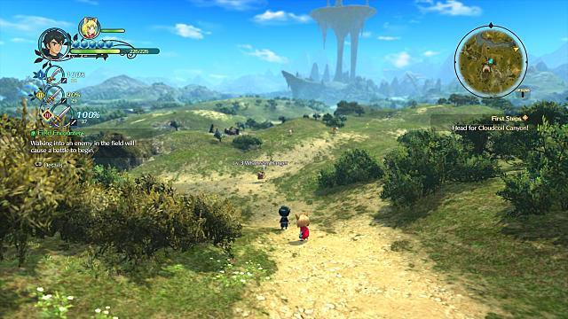 Two characters traversing the open overworld in Ni No Kuni 2: Revenant Kingdom