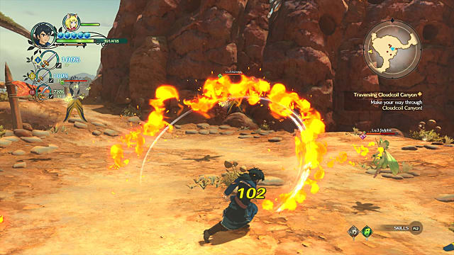 Character wielding a fire-based weapon during combat in Ni no Kuni II Revenant Kingdom