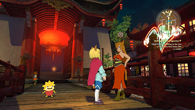 Four characters, two in conversation, from Ni no Kuni II: Revenant Kingdom