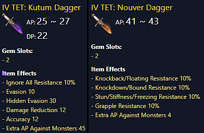 Kutum and Nouver are great end-game sub-weapons in BDO