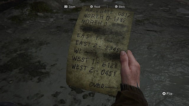 The Last of Us 2 gate code list.