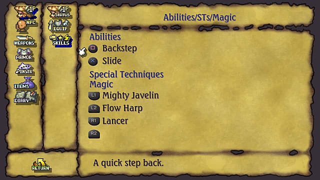 Legend of Mana abilities menu showing  backstep, slide, special techniques, and magic.