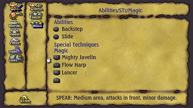 Legend of Mana abilities menu highlighting the Mighty Javelin technique.