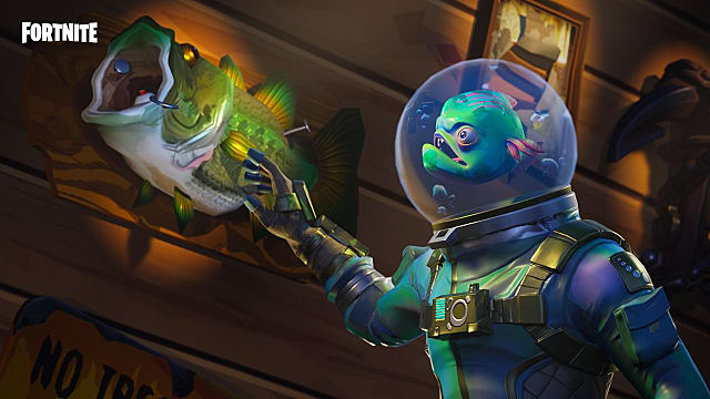 a Fortnite leviathan skin that looks like a scuba diver or astronaut with a fish for a head raching out to a mounted fish on a wall