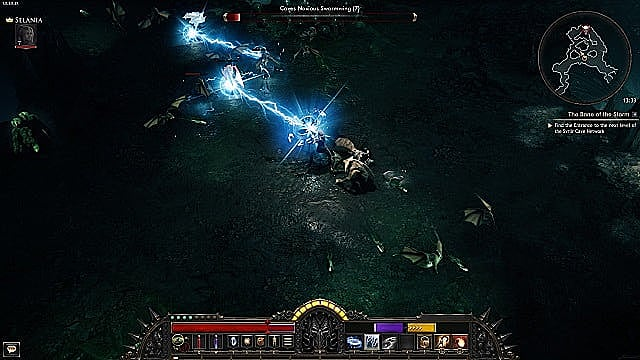 Attacking an enemy in Wolcen using electricity ability.