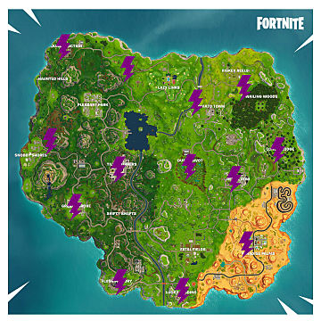 Fortnite Lightning Bolt Locations Guide | Fortnite on oz the great and powerful map, robin hood map, aquamarine map, screw map, rome total war map, miley cyrus map, web browser map, the golden compass map, inside out map, path finder map, the amityville horror map, need for speed undercover map, the incredibles map, tangled map, ratatouille map, beijing china map, the walt disney company map, atlantis the lost empire map, gulliver's travels map, the little mermaid map,