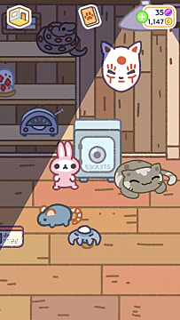 A sad looking cat that looks like a rabbit sits in front of a locked safe in Kleptocats 2
