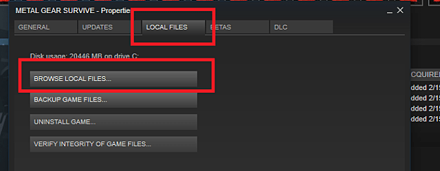 Browsing local files in your Steam library to access the Userdata folder