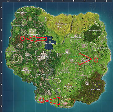 A Fortnite map showing the dance floor locations for Week 8's Challenges