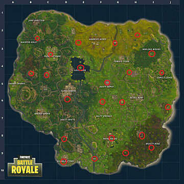 The locations of each Fortnite landing bullseye