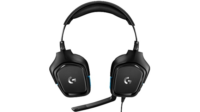 Logitech G432 Gaming Headset front view earcups flat