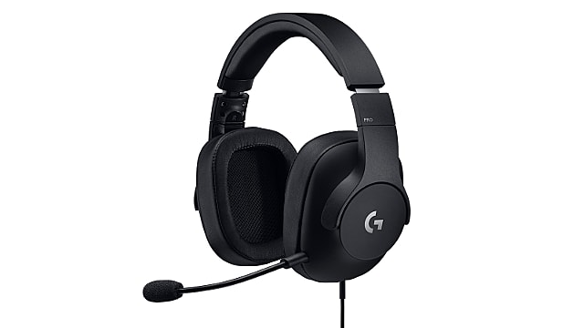 Logitech G PRO Gaming Headset tilted with mic and wire
