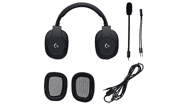 Logitech G PRO Gaming Headset  with all its connecting wires and removable earcup pads
