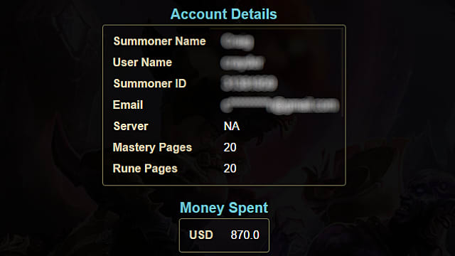 See How Many Hours and How Much Money You've Spent in League of