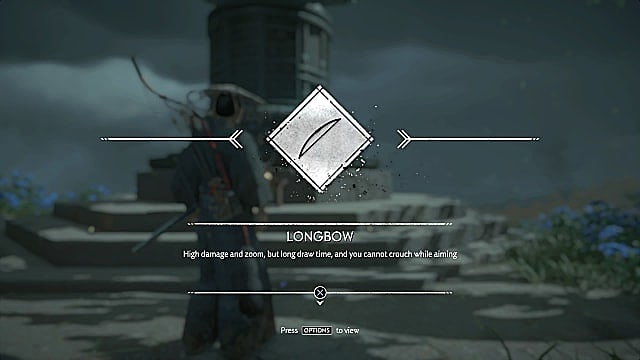 The longbow symbol alongside description text for the bow: high damage and zoom, but long draw time.