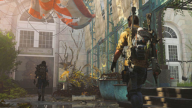 Concept art of two fighters walking through a derelict building