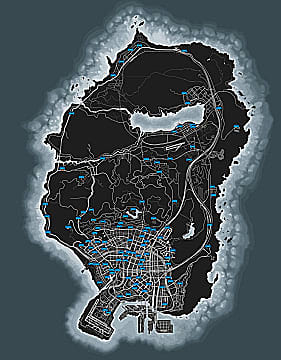 Grand Theft Auto Online Los Santos map with autoshop location markers.