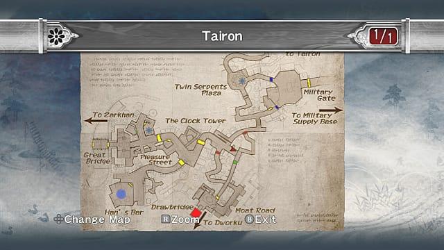 Tairon map showing nunchakus location.