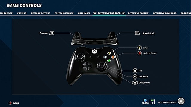 Madden 21 controls menu showing an Xbox One controller and the game's pass rush moves.