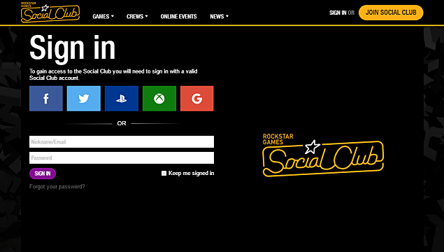 Main Screen for Grand Theft Auto 5 Social Club