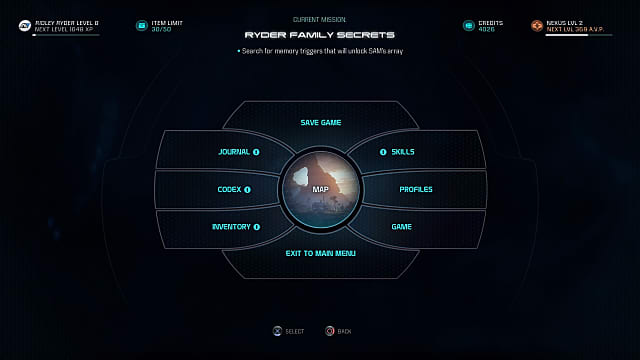 Mass Effect Andromeda, UI, pause menu