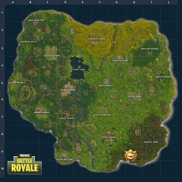 Fortnite map displaying the location of the battle star for week 4