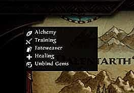 Amalur map legend showing icons for fateweaver, alchemy, training, healing, & unbind gems.