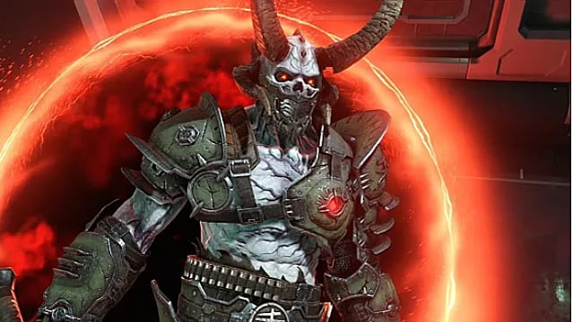A Marauder exits a portal in Doom Eternal.