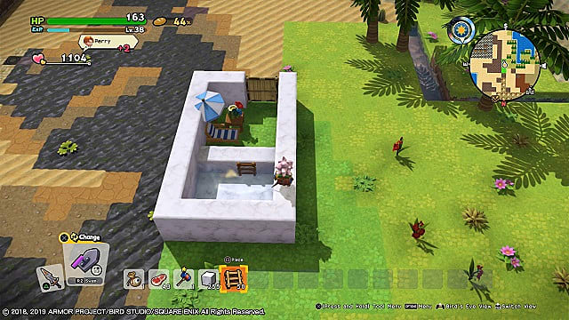 A small pool of paradise made of marble in Dragon Quest Builders 2